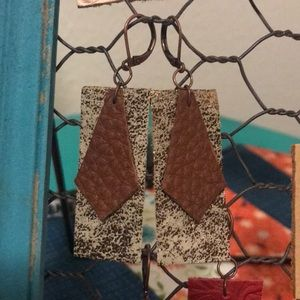 Jewelry - Leather earrings for sale!